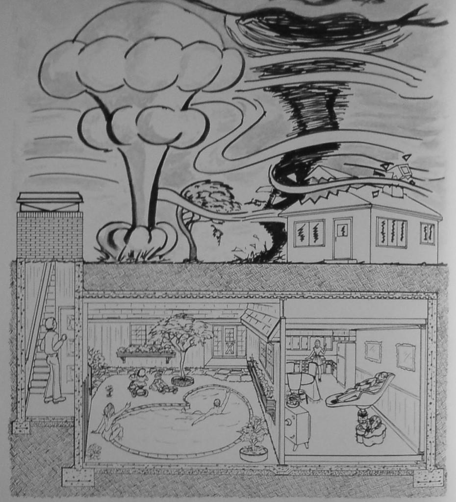 Légende : L'enfouissement et l'isolation des habitacles souterrains, garanties de la protection pour Jay Swayze (Crédits : Géobuilding Systems)