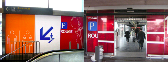 Photos de la signalétique relative au parking rouge de l'aéroport de Roissy. (Source : Magistère Aménagement [2])
