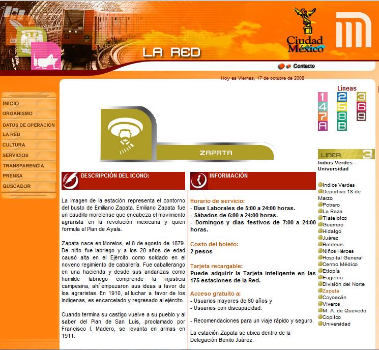 Page internet présentant l'icône utilisée pour désigner la station Zapata. (Source : Site internet de la RED – Gestionnaire du système de métro de Mexico)