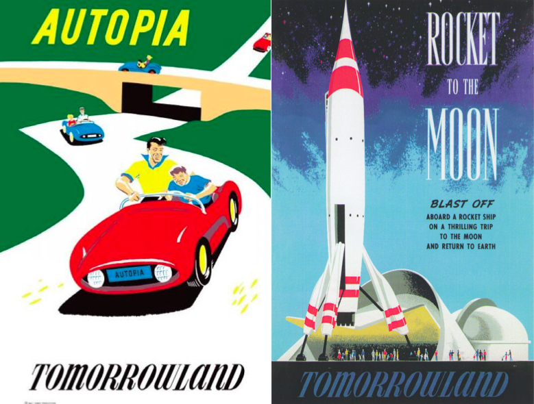 Affiches d'Autopia et de Rocket to the Moon (Bjorn Aronson, Disney Imagineering Collection, 1955)