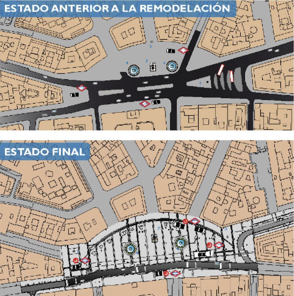 Le projet de l'architecte Antonio Fernández Alba redessine profondément l'organisation de l'espace public et les circulations : les axes automobiles sont largement déroutés, au profit d'autres types d'accessibilité : métro, vélo, station de bus proche. Source : Comunidad de Madrid, Ministerio de Fomento, Reforma de la Pierta del Sol, 2009.