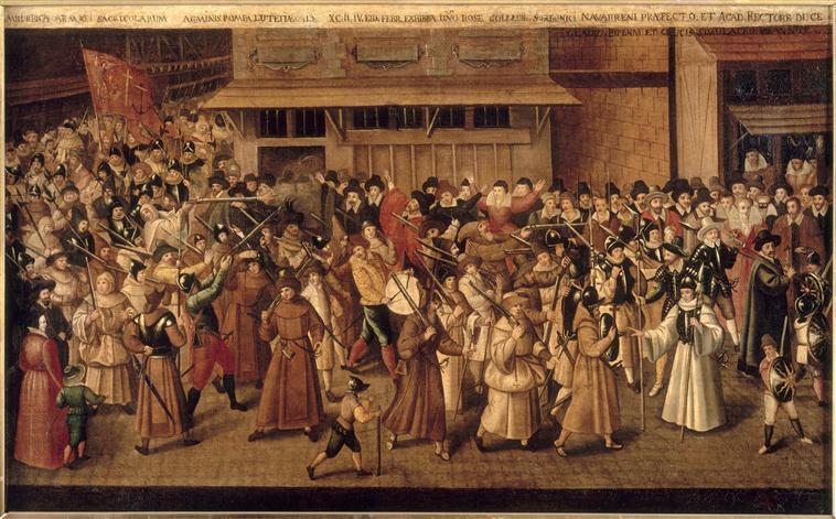 François II Bunel (vers 1552-avant 1599), La procession de la ligue dans les rues de Paris, le 4 février 1593 conduite par Guillaume Rose, huile sur toile (Château de Versailles)
