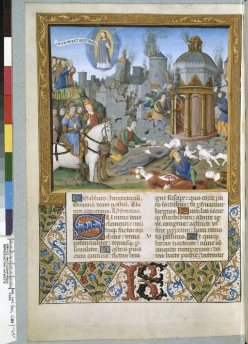 Sac et incendie d'une ville (Bréviaire de René II de Lorraine, Folio 49 verso, Manuscrit 601, BNF, collection du Marquis de Paulmy)