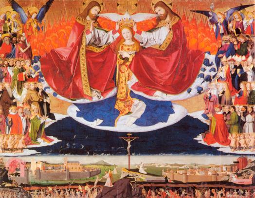 Enguerrand QUARTON, Le couronnement de la Vierge, 1454, Musée Pierre de Luxembourg, Villeneuve-lès-Avignon, Détrempe sur bois, 183 x 220 cm.