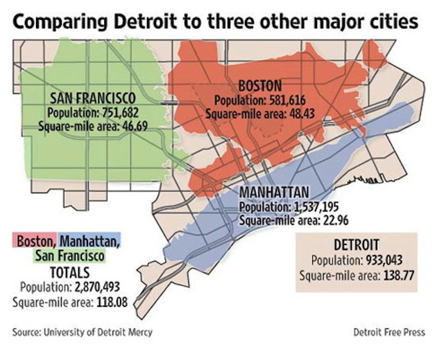 Detroit Free Press – University of Detroit Mercy. Extrait de STAES, J.A. [12 août 2012], Comparing Detroit To Other Cities? Look At The Map! [http://blog.thedetroithub.com/2010/08/12/comparing-detroit-to-other-cities-look-at-the-map/]