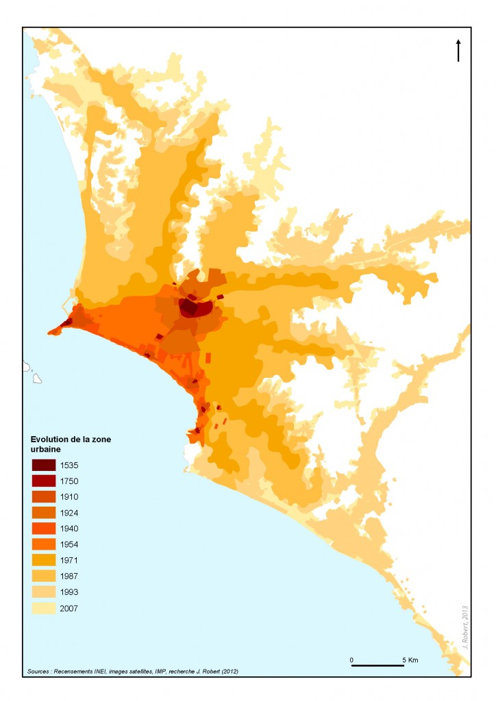 Lima, une urbanisation explosive consommatrice d'espace (J. Robert, 2013)