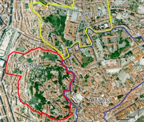 Les limites des trois quartiers de l'étude : Graça, Alfama et le quartier du Castelo Sao Jorge. (Tavin d'après Google Earth©, 2012)