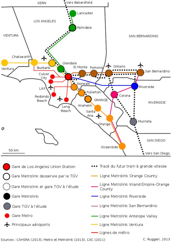 2. Le Metrolink : un réseau récent à l'échelle de Los Angeles (Ruggeri, 2013)