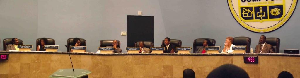 Photographie prise par l'auteur au cours d'un conseil municipal en juin 2011. L'ensemble des membres du conseil étaient afro-américains (Le Moigne, 2011).