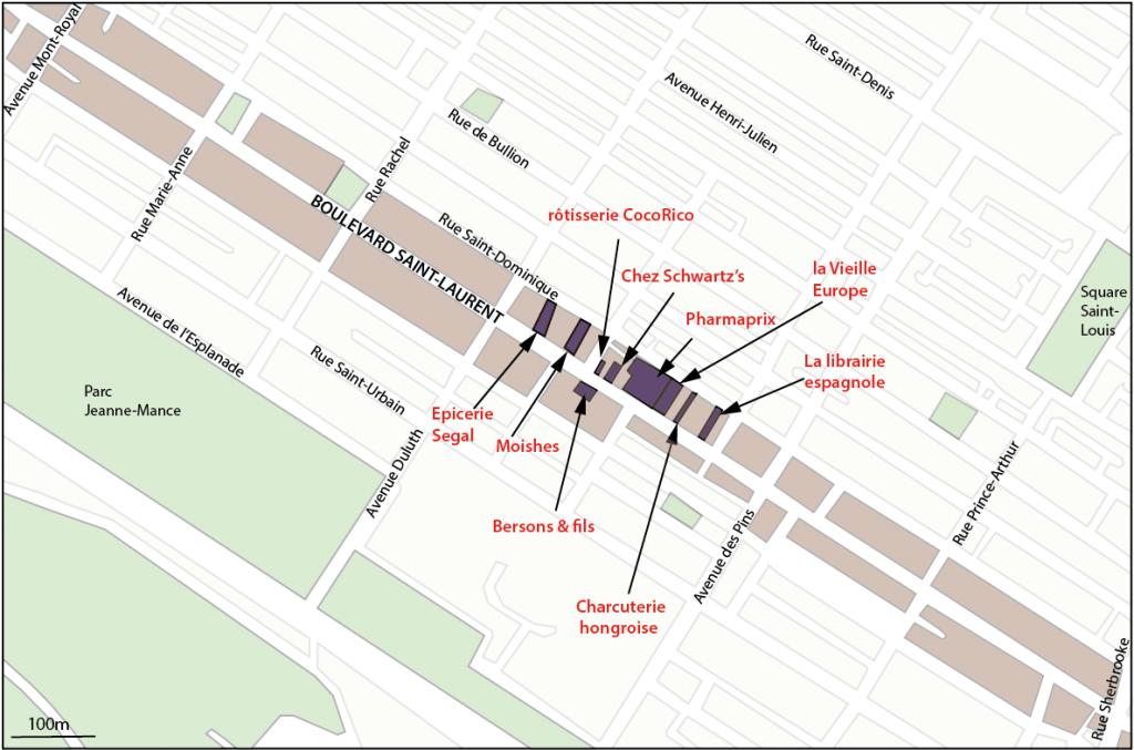 Figure 2 : Le boulevard Saint-Laurent entre la rue Sherbrooke et l'avenue Mont-Royal (source : OpenStreepMap.org (site consulté le 27 janvier 2014) ; réalisation : Poulot, 2013)
