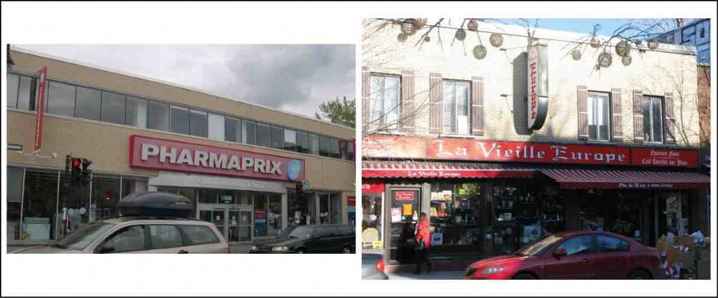 Figure 4 : Le magasin Pharmaprix, qui a remplacé le magasin Warshaw, jouxte l'épicerie la Vieille Europe (Poulot, 2011)