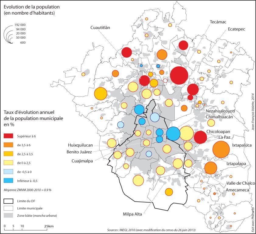 1. L'évolution démographique de la ZMVM entre 2000 et 2010 (Valette, 2014)