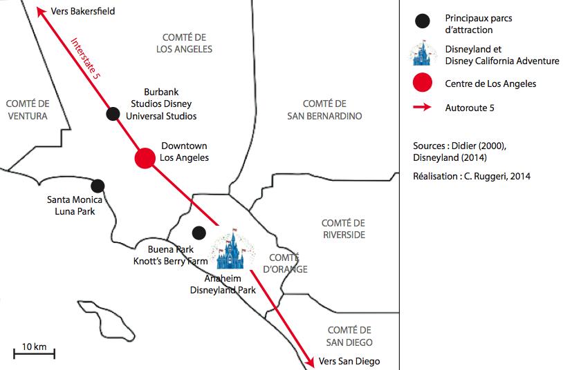 Fig. 1 Localisation de Disneyland Anaheim dans l'air urbaine de Los Angeles (Ruggeri, 2014)