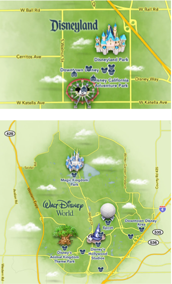 Fig 2. L'île Disneyland. Carte du haut : Anaheim, carte du bas : Disneyworld en Floride (Disneyland Anaheim, 2014 ; Disneyworld Florida, 2014)