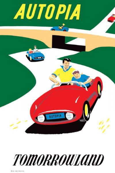 4. Affiche d'Autopia (Bjorn Aronson, Disney Imagineering Collection, 1955)
