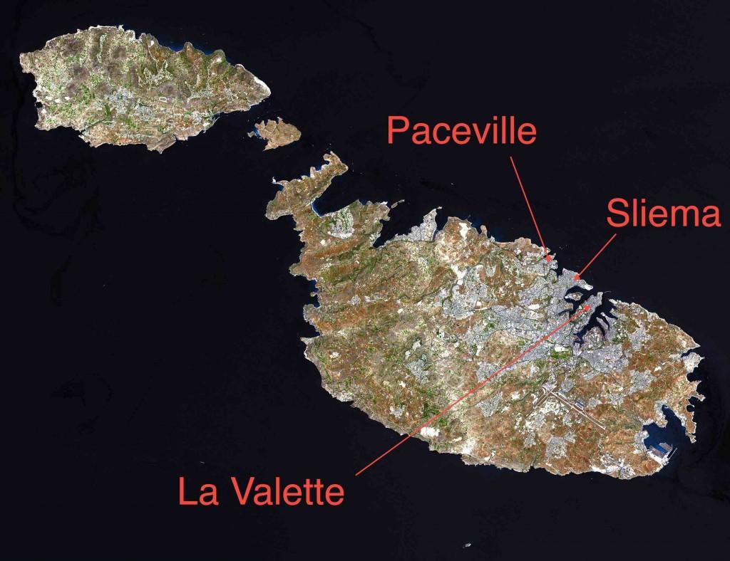 Archipel maltais (Google Earth, image annotée par l'auteur, 2014)
