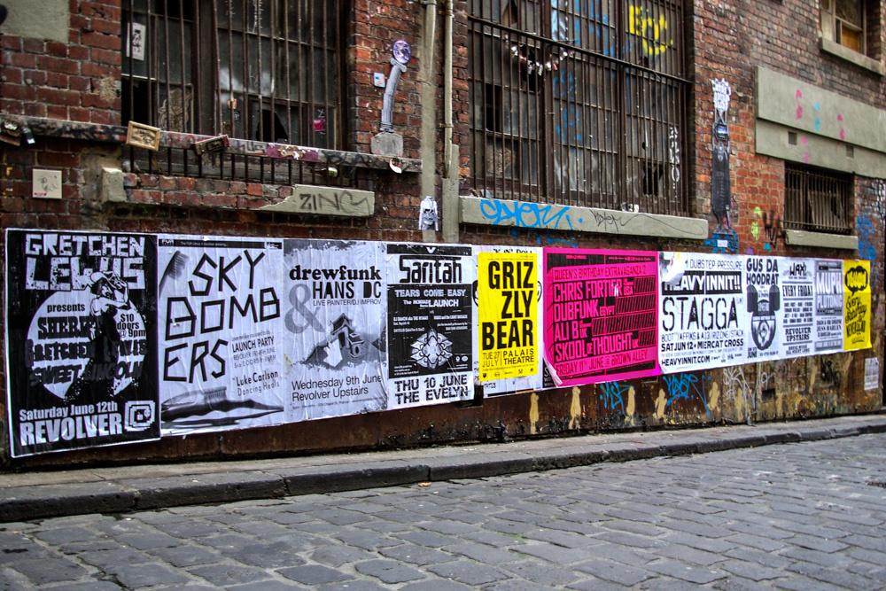 3. L'omniprésence visuelle des concerts dans les rues de Melbourne, ici dans Hosier Lane (Dorignon, 2010)