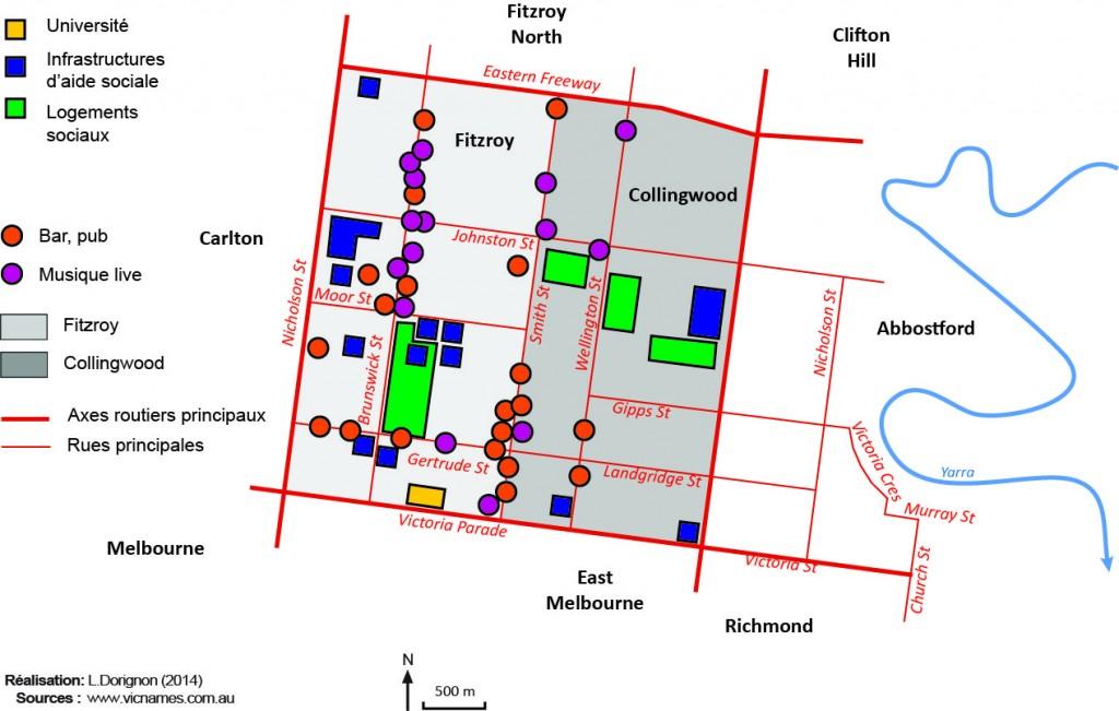 5. L'imbrication des lieux de la fête et de la musique dans les quartiers de Fitzroy et Collingwood (Dorignon, 2014)