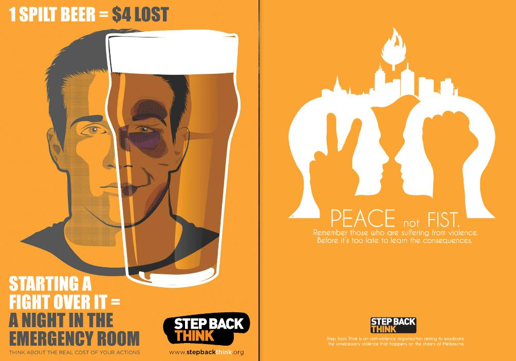 6. Les conséquences de la consommation d'alcool sur le corps et sur la ville, publicités de la campagne de 2011 par l'association Step Back Think (Source : www.stepbackthink.org)