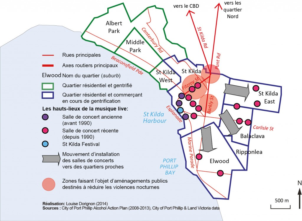 12. La migration progressive de l'activité live vers les quartiers Sud de la municipalité de Port Phillip et l'ancrage spatial du plan d'action 2008-2013 destiné à réduire les violences liées à l'alcool