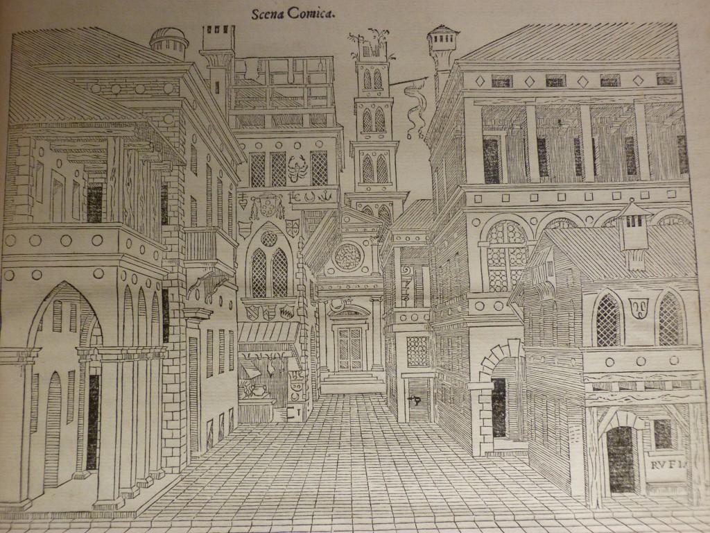 Scena comica de Serlio, dans le Second livre de Perspective (traduction française : 1545)