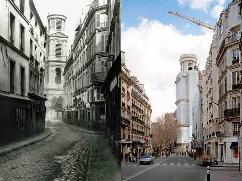 Rue du vieux colombier, Paris 6ème, à gauche avant les travaux, à droite après les travaux d'Haussmann (à gauche Charles Marville, 1876, à droite Patrice Moncan, 2009)