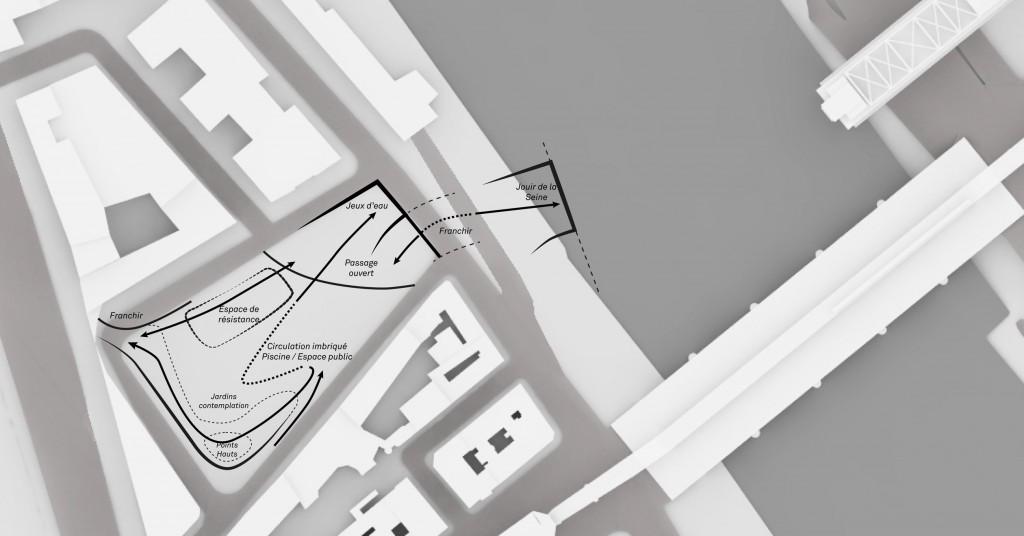 Projection d'espace autour des plaisirs de l'eau et du corps face au Ministère (Tricon, 2013)