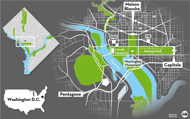 Les lieux du pouvoir à Washington DC (Source : Libération, 2013)