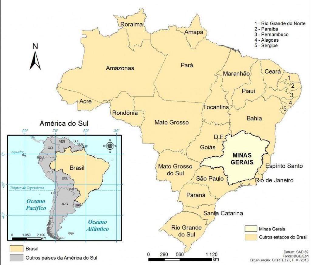 1. Localisation de Minas Gerais au Brésil (Cortezzi, 2013)
