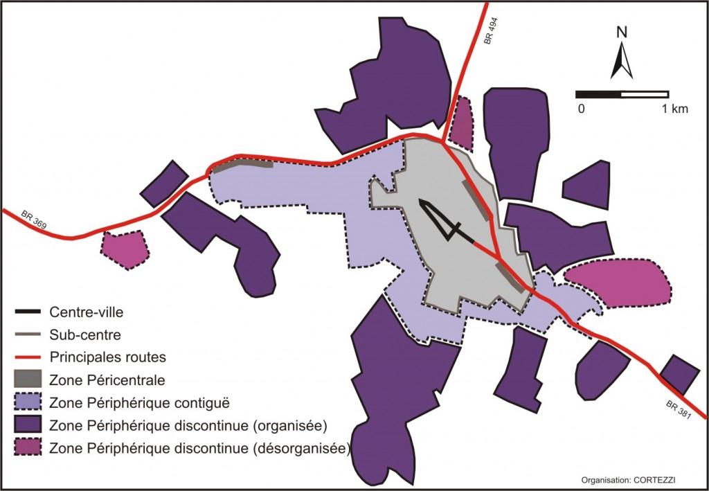 10. Structure morphologique-fonctionnelle de l'espace intra-urbain d'Oliveira (Source : Intégrées par les auteurs ; Auteur : Cortezzi)