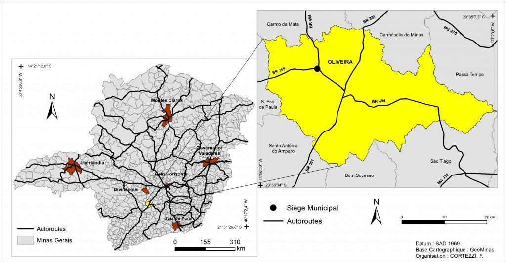 2. Localisation d'Oliveira dans l'État de Minas Gerais (Cortezzi)