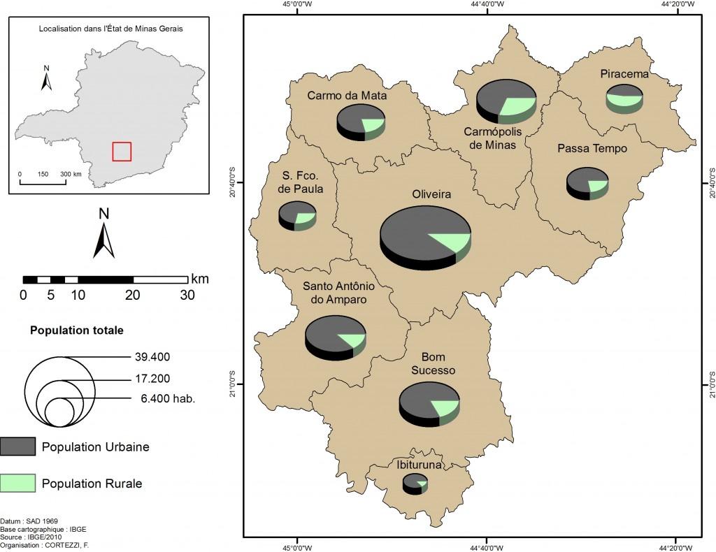 4. Micro-région d'Oliveira : population totale, rurale et urbaine (Source : Institut Brésilien de Géographie et de Statistiques 2010 : Auteur : Cortezzi)