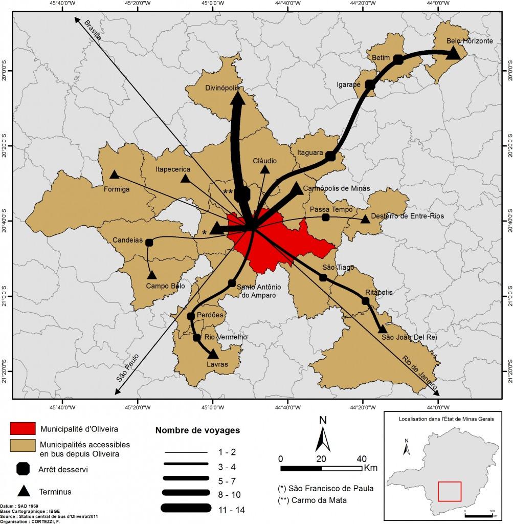 5. Flux de transport en car à partir d'Oliveira. (Source : Gare routière municipale d'Oliveira ; Auteur : Cortezzi)