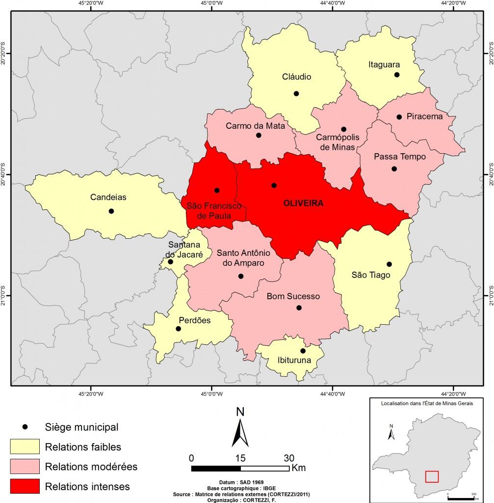 9 . Espace des relations d'Oliveira (Source : Matrice des relations externes ; Auteur : Cortezzi)