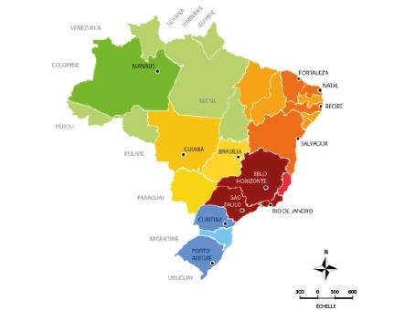 élaborée par Aiade Guerra (étudiante en architecture) à partir des donnés de l´IBGE (Institut Brésilien de Géographie et Statistiques) et de la carte publiée dans le site : http://www.and.org.br/associados/)