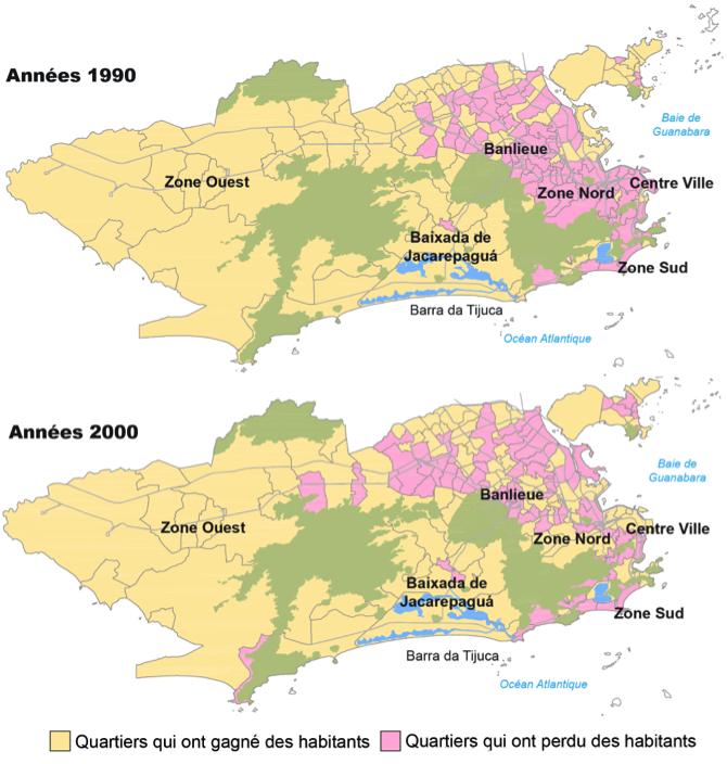 Déplacements de la population de Rio de Janeiro entre 1991 et 2010. Années 1990: La ville se déplace vers l'ouest. Années 2000: Quelques signes de recentralisation de la ville, mais les travaux de la seconde moitié de la décennie renforcent les tendances à l'étalement urbain (Source : IBGE, 1991, 2000 et 2010. Armazém de Dados (PCRJ). Traitement : Henrique Barandier, 2014)