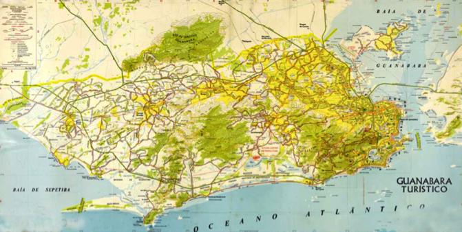 Carte de la Ville de Rio de Janeiro dans les années 1970. En jaune, l'aire urbanisée de Rio de Janeiro dans les années 1970. Jusqu'alors, la ville était relativement dense, avant l'occupation de Barra da Tijuca et l'expansion de l'urbanisation précaire dans la Zone Ouest (Source : Mapa Guanabara Turístico, 1974 - Extrait de CASCO, s/d : Uma cidade tra(duz)ída pelos mapas.)