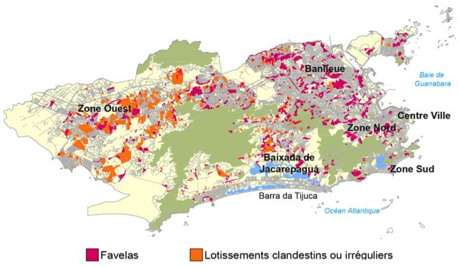 Favelas et lotissements clandestins ou irréguliers à Rio de Janeiro (Source : IBGE, 2000 ; Armazém de Dados et SABREN (PCRJ). Traitement : Henrique Barandier, 2014.)