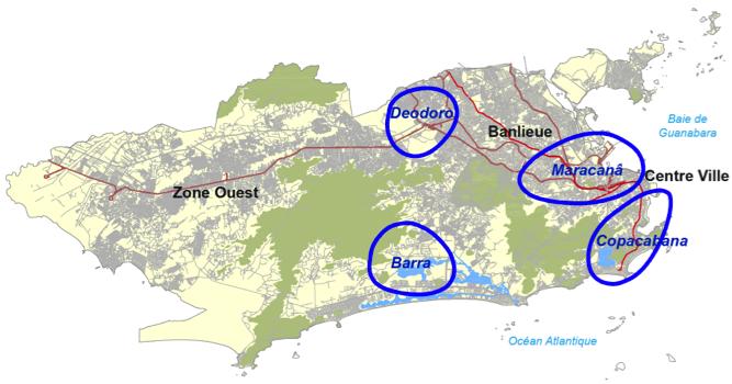 Rio 2016 : Régions Olympiques. C'est la région olympique « Barra » qui recevra la plus grande partie d'investissements (Source : www.rio2016.com. Traitement : Henrique Barandier, 2014)