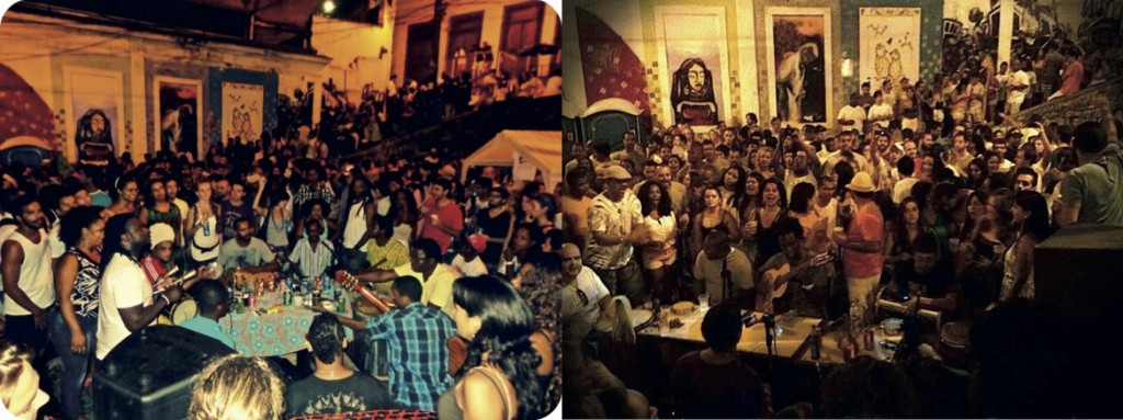 Ci-dessus à gauche, la « roda de samba da Pedra do Sal » du lundi, et à droite la roda de samba du groupe « Samba de Lei », le vendredi (Kaila Lewis, 12/05/2013 (à gauche) et Samba de Lei, 20/05/2013 (à droite)).