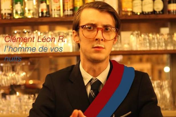 """Affiche de campagne: """"Maire de la Nuit à Paris"""" de Clément Léon R. (JDD, 2014)."""