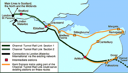 Carte n° 2 : Channel Tunnel Rail Link. Source : Université de Nottingham, http://www.nottingham.ac.uk/transportissues/appraisal_ctrl.shtml.