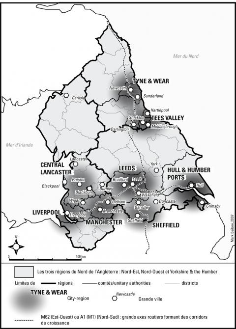 Carte n°3: le Nord de l'Angleterre, la Northern Way et les city-regions. Source: http://geocarrefour.revues.org/docannexe/image/6002/img-1.png