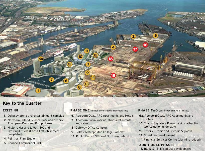 Les différentes infrastructures prévues au sein du projet du Titanic Quarter (Titanic Quarter Background to Development, n.d.)