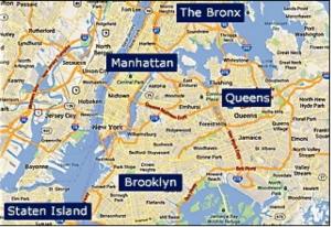 Les cinq boroughs historiques de New York, réunis en 1898 (carte : DR)