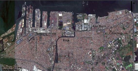 Vue aérienne du port de Tanjung Priok et de ses environs (Google Earth, 2011)