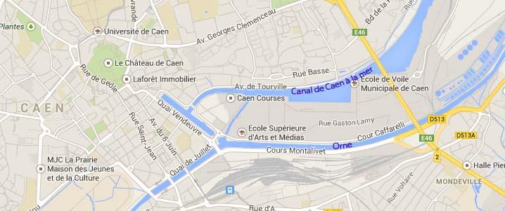 Figure 1 – La presqu'île de Caen (Données cartographiques Google, Claire Le Thomas 2014)