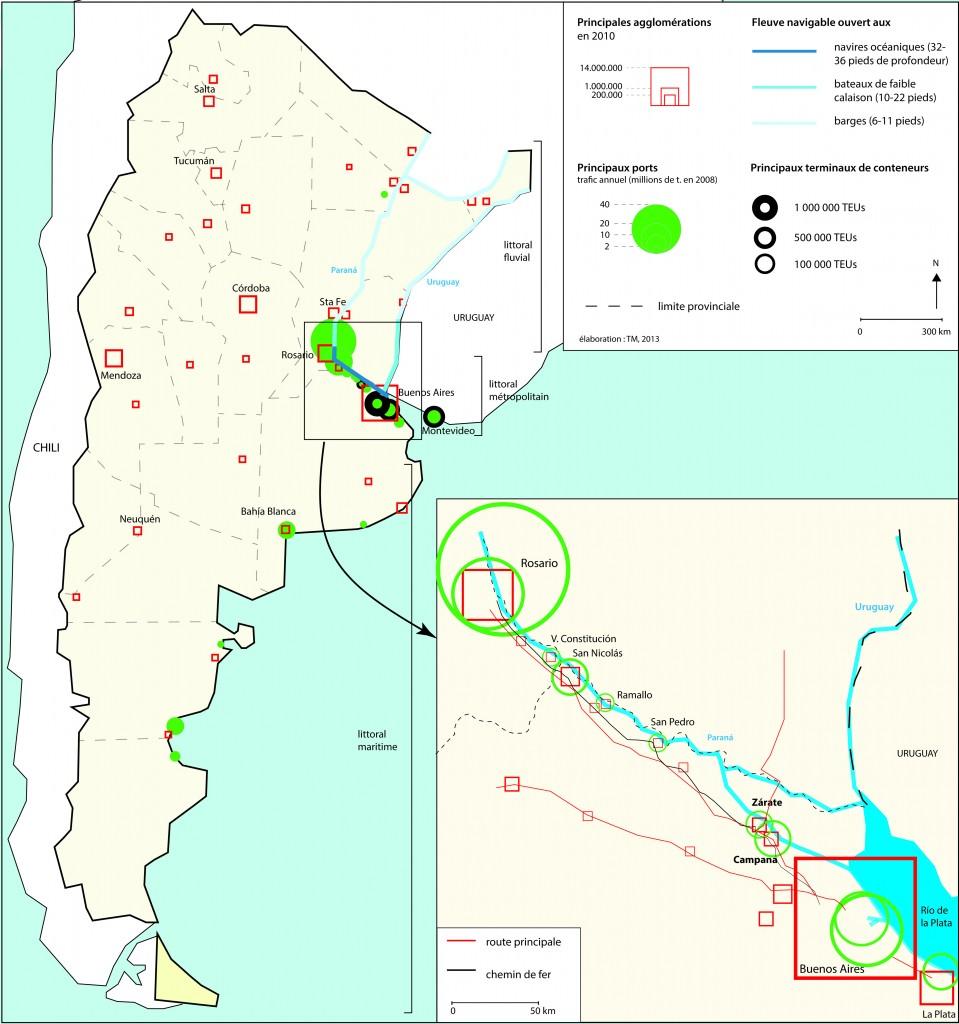 Le littoral métropolitain dans le système portuaire argentin (Massin, 2013)
