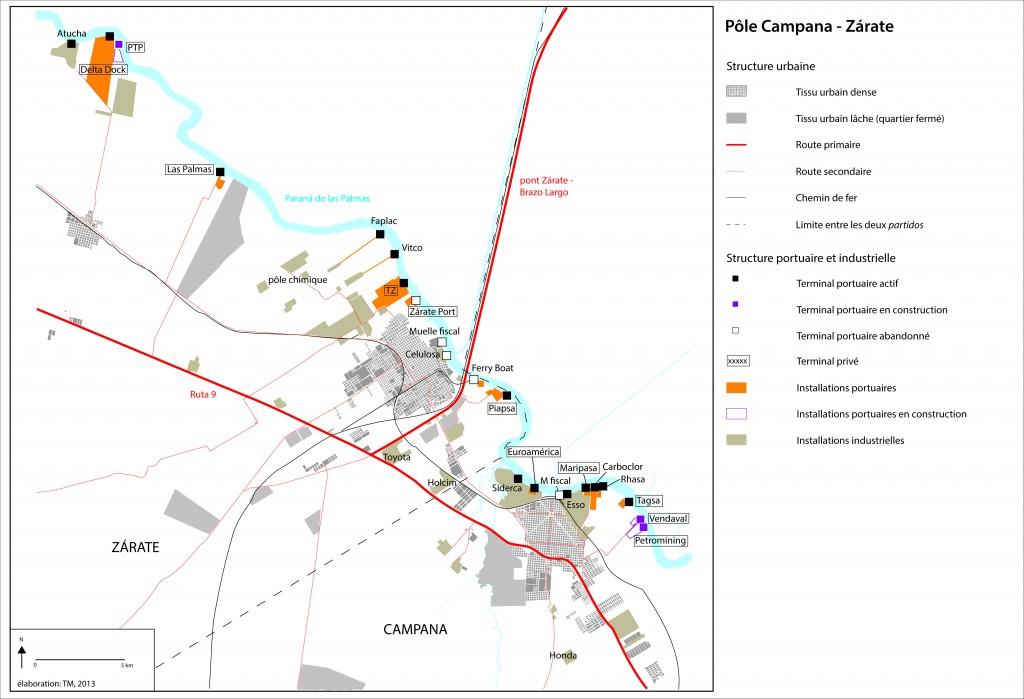 Les terminaux portuaires et les industries dans la conurbation de Campana–Zárate (Massin, 2013)