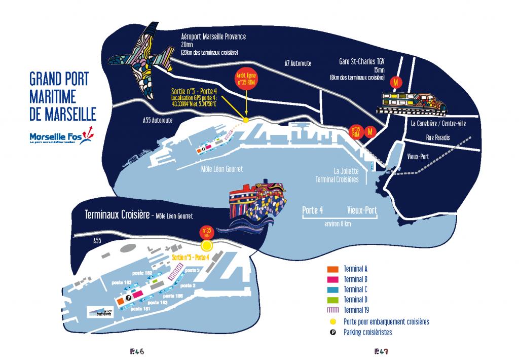 Plan des terminaux de croisière (source : site internet du Club de la croisière Marseille Provence)